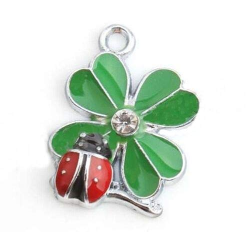 Pendant Jewelry Making Green 4 Leaf Clover with Red Ladybug Enamel 22mm Silver Traditional Charm -