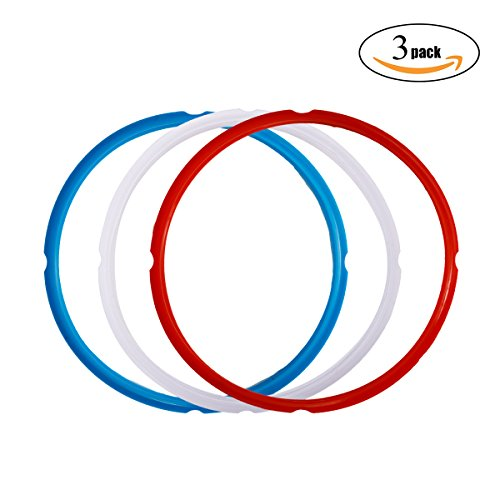 Silicone Sealing Ring for Instant Pot Accessories , Fits 5 or 6 Quart Models, Red, Blue and Common Transparent White, Sweet and Savory Edition, Pack of 3