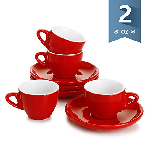 Sweese 401.104 Porcelain Espresso Cups with Saucers - 2 Ounce - Set of 4, Red