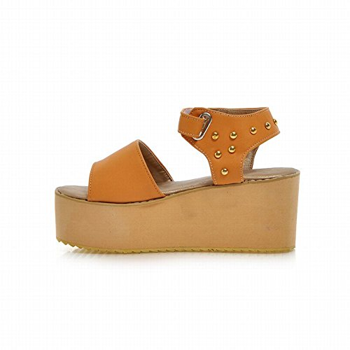 Carolbar Fashion Womens Studded Casual Open Toe Summer Platforms Sandals Orange Yellow