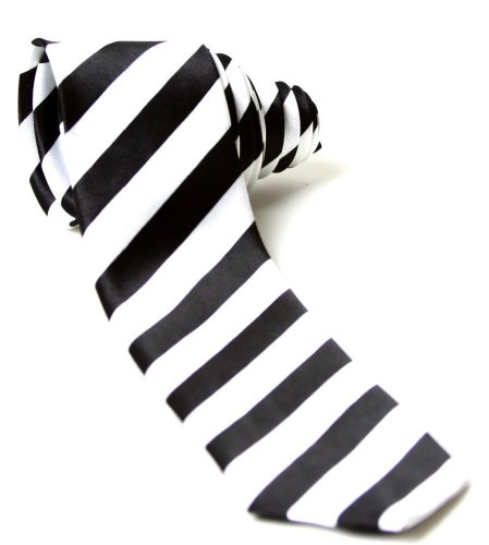 Trendy Skinny Tie - White and Black Striped Diagonal