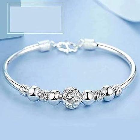 1e56e2c6b4a3 Plateado mujeres de la joyería 925 pulseras de cadena de plata esterlina de plata  sólida de pulsera de moda Cuff  Amazon.es  Bricolaje y herramientas