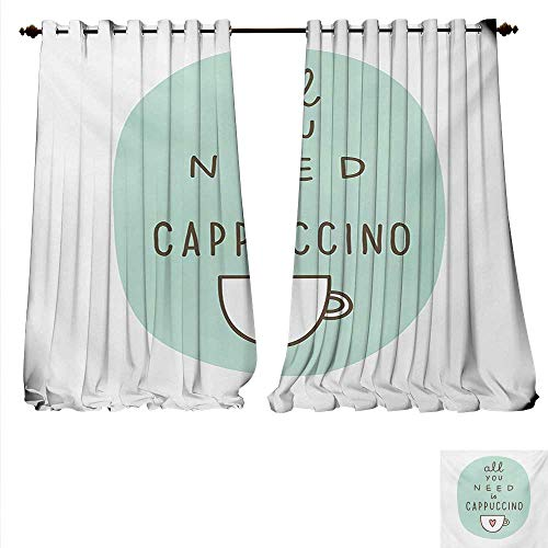 Candle Coffee Cup Mini Blend - familytaste Patterned Drape for Glass Door All You Need a Cappuccino Quote with Cup of Coffee and Heart Window Curtain Fabric W120 x L84 Seafoam Dark Brown Pale Pink.jpg
