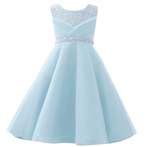 Castle Fairy Girls Pageant 2017 Wedding Flower Girl Dresses Pearls First Communion with Bow (6, Light Blue)