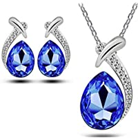 CHASIROMA Women's Jewelry Set Pendant Necklace Earring Set Pear Shaped Necklace and Earrings Set Wedding Jewelry