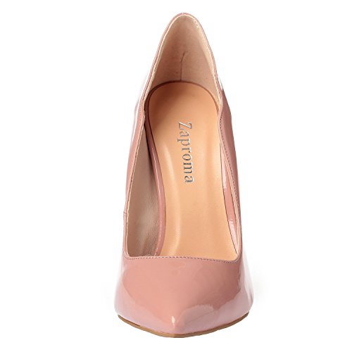 Zabsolute High ZAPROMA Patent Heels Pumps Toe Luxury Shoes Sexy Beige Women's Leather Comfortable Pink Point Stilettos 4BFxqnw5pF