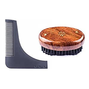 Kabello Beard Shaping & Styling Tool Comb (Blue) + Beard Brush For Men