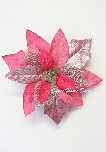 Sweet Home Deco 9''W Silk Shinning Sprakled Poinsettia Artificial Flower Heads (Set of 5) Christmas Decorations (Pink) (Christmas Poinsettia Flower)