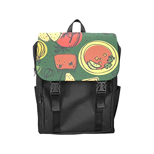 - Flap Backpack Delicious Cartoon Cute Food Snack Printing Flip Cover Laptop Backpack Side Pockets Bookbags College Backpack for Boys Men Women Hiking