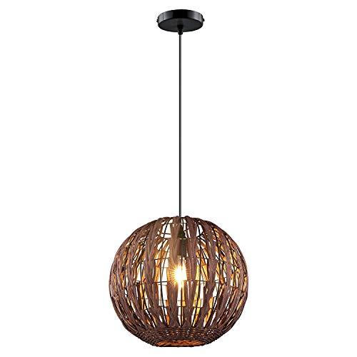 HAIXIANG Tropical Bamboo Pendant Lamp Chandelier Ceiling Light DIY Wicker Rattan Shades Weave Light Fixture Hanging Lamp Bedroom Living Room Office Restaurant Cafe Coffee Color