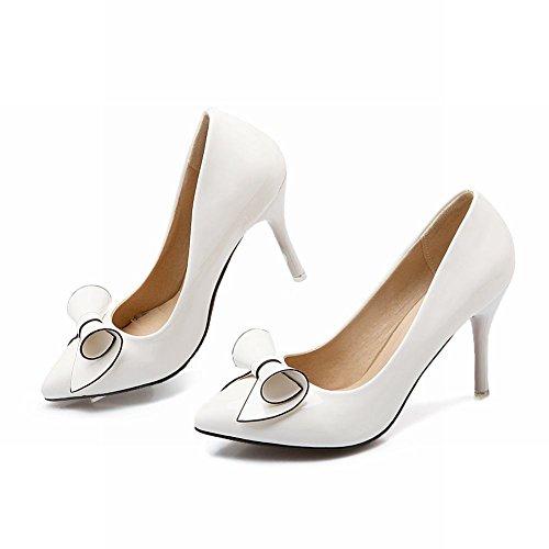 blanco corte Womens charol Show superior zapatos alto Shine tacón alto estilete Sexy tacón de OW5xP85wqF
