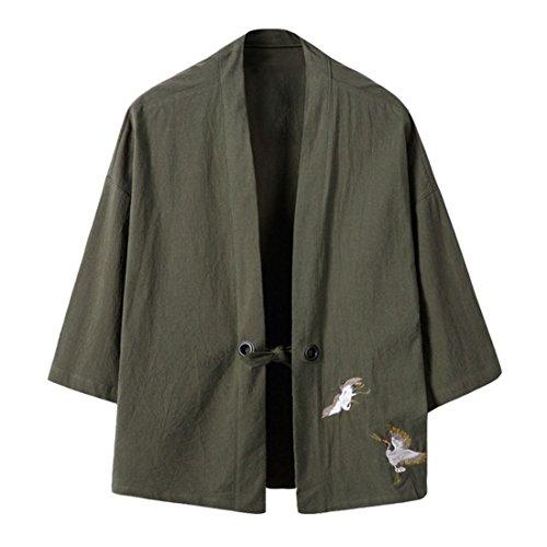 Hzcx Fashion Men's Cotton Blends Linen Open Front Cardigan Kimono Jackets QT4018-M708-60-GR-US M(38) TAG XL