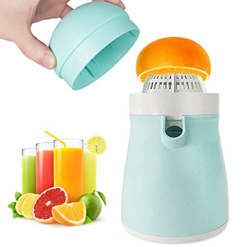 MIGECON Manual Cirtus Juicer for Orange Lemon Grapefruit Squeezer Lid Rotation Press Reamer with Strainer and Container