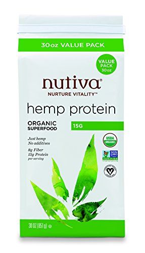 Nutiva Organic, Cold-Processed Hemp Protein from non-GMO, Sustainably Farmed Canadian Hempseed, 15 G, 30 Ounces
