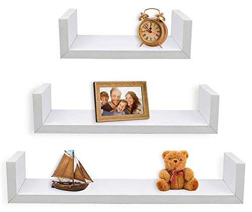 GHC Wall Shelf Set of 3 Floating Storage Shelves MDF Weight Capacity Up to 33 LB,Set of 3,23.6/17.7/11.8 INCHES (3 Piece Length:23.6/17.7/11.8 in, White)