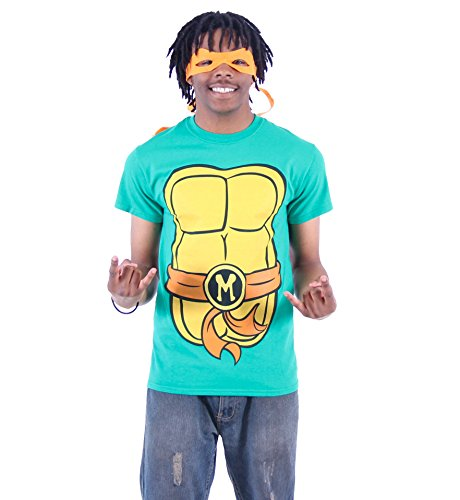 Tmnt Eye Mask (TMNT Teenage Mutant Ninja Turtles Michelangelo Costume Green T-shirt with Orange Eye Mask (Adult Medium))