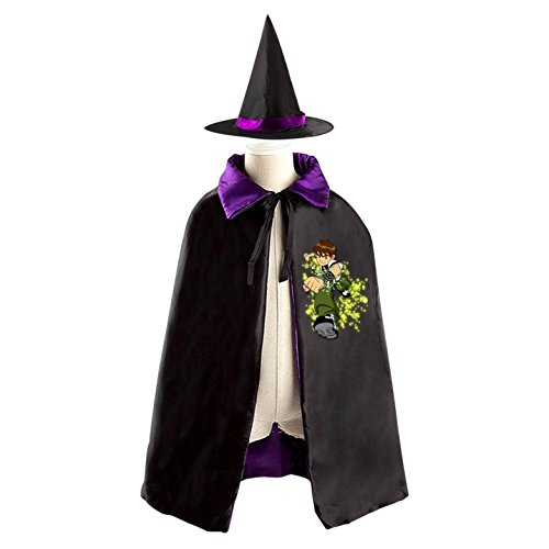 Four Costume Ben Arms 10 (Halloween Ben 10 Wizard Witch Kids Childrens' Cape With Hat Party Costume Cloak)