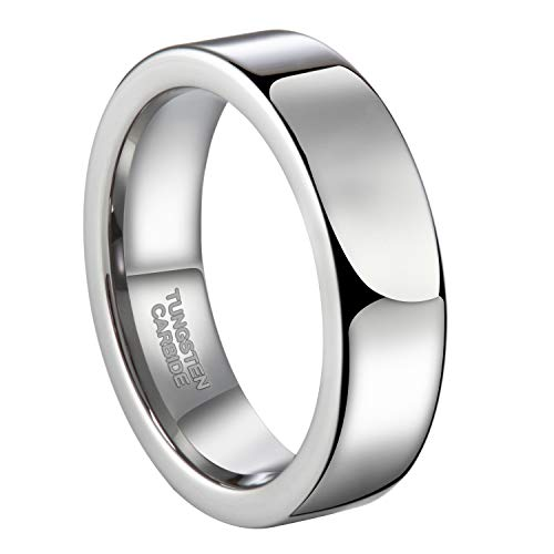 Greenpod 6mm Flat High Polished Tungsten Ring for Men Simple Plain Pipe Cut Wedding Band Size 4.5