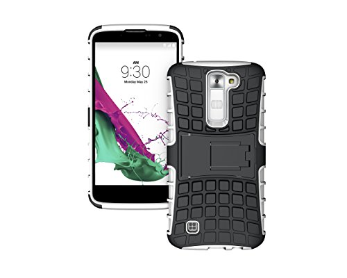 Berry Accessory Heavy Duty Rugged [Drop Protection][Shock Proof] [Dual Lawyer] Hybrid Defender Armor with Built-in Kickstand Case Cover For LG K10 with Berry stand holder (White)