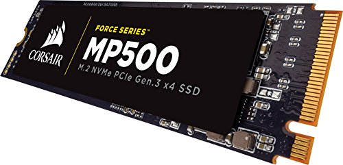CORSAIR FORCE Series MP500 480GB NVMe PCIe Gen3 x4 M.2 SSD Solid State Storage, Up to 3,000MB/s 3 The CORSAIR NVMe PCIE boosts bandwidth, allowing you to access all of your data, load files and launch games with speeds up to 4x faster than the SATA 3.0 CORSAIR NVMe M.2 SSDs enable a new level of performance in a compact form-factor Additional error bit correction and improved data retention, while supporting the latest generation NAND