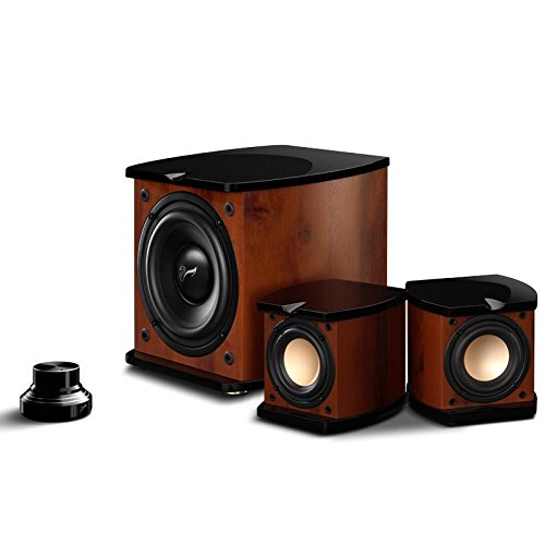 Swan Speakers - M20W - Beautiful Powered 2.1 Living Room Laptop Speakers - 6'' Subwoofer - Rosewood with Pink Gold Aluminium Drivers and Piano Finish - 50W RMS Internal Amplifier
