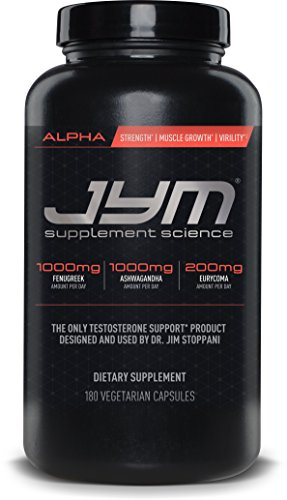 JYM Supplement Science, ALPHA JYM, Testosterone Booster with Ashwagandha, Fenugreek, Eurycoma, Damiana, Eurycoma and more, 180 Vegetarian - Testosterone Maximize