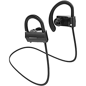 Anlo Bluetooth Headphones Wireless In Ear Earbuds V4.1 Stereo Noise Isolating Sports Sweatproof Headset with Mic, Premium Bass Sound - Black