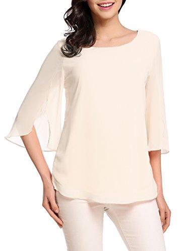 ACEVOG Women's Casual Chiffon Blouse Scoop Neck 3/4 Sleeve Top Shirts (Cream, X-Large) (Top 3/4 Sleeve Neck Scoop)