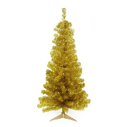 Gold Christmas Tree (Northlight Pre-Lit Slim Gold Artificial Tinsel Christmas Tree with Clear Lights, 4' x 29