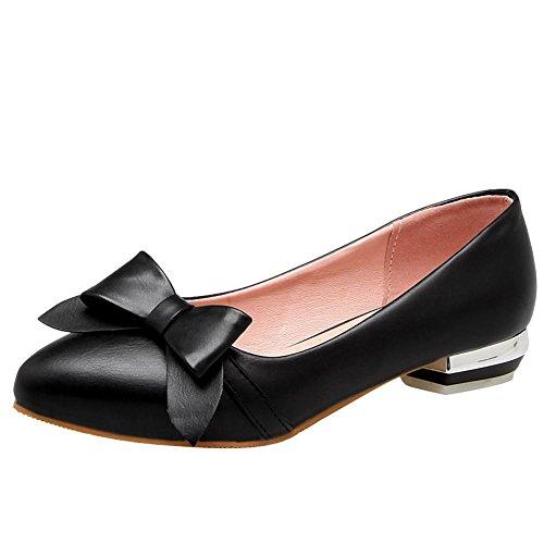 Carolbar Vrouwen Bowknots Zoete Puntschoen Lage Hakken Loafers Schoenen Zwart