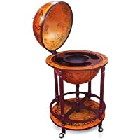 Deluxe Antique Globe Bar Cabinet/Drink Trolley