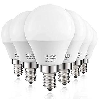 Prosperbiz E12 Dimmable 6 watt (60w Equivalent) LED Bulbs, Small Base Candelabra Round Light Bulb, 550 Lumen, Daylight White 5000K, A15 LED Bulb Globe Shape, G45 Ceiling Fan Light Bulbs, 6-Pack