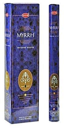 Myrrh - Hem Jumbo 16 Inch Incense Sticks 10 Stick Hexagon Box (Set of 6)