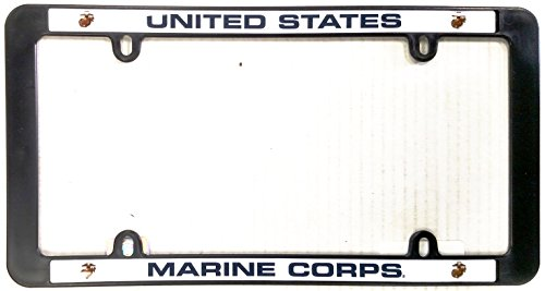 United License Plate - Marines Black Plastic License Plate Frame Tag Cover United States Marine Corp Military