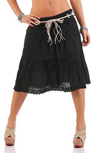 ZARMEXX Señoras midi falda de algodón verano de la falda de la rodilla de longitud con cinturón volantes de algodón falda jean A-line negro