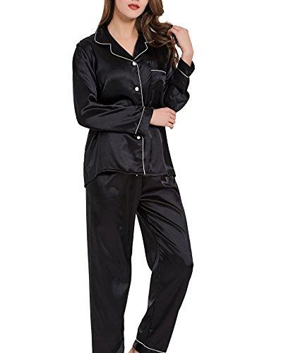 VlSl Womens Silk Satin Pajamas Set Two-Piece Long Sleeve Long Button-Down Sleepwear Loungewear (Large, USS (Sleepwear Silk Sleep Pant)
