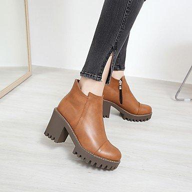 RTRY Zapatos De Mujer Otoño Invierno Pu Confort Botas Chunky Talón Puntera Redonda Cremallera Para Oficina Exterior &Amp; Carrera Kaki Marrón Negra US5.5 / EU36 / UK3.5 / CN35