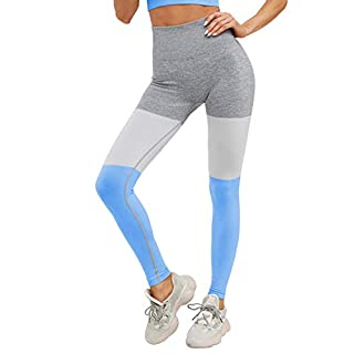 Yaavii Seamless Workout Leggings for Women Colorblock High Waist Full-Length Yoga Pants for Gym Running Blue