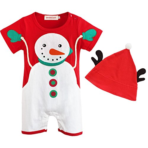 TiaoBug Baby Boys Christmas Santa Party Snowman Romper Bodysuit with Hat Red 6-9 Months (Santa Overalls)