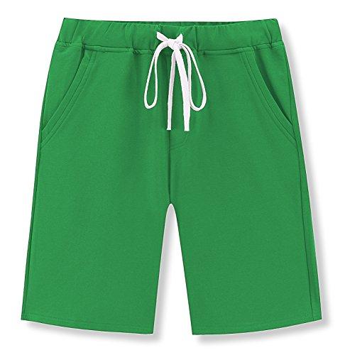 Janmid Men's Casual Classic Fit Cotton Elastic Jogger Gym Shorts (Green, L)