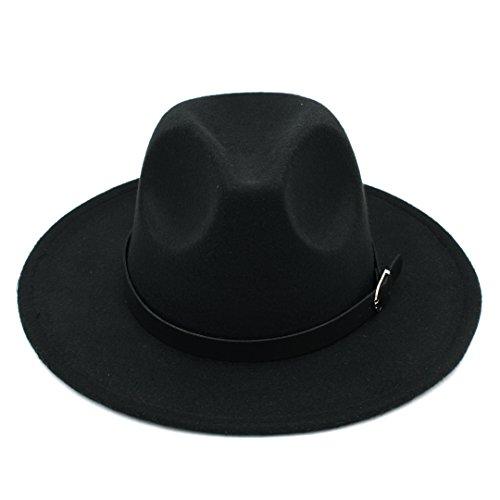Elee Men Women's Wool Blend Panama Hats Wide Brim Fedora Trilby Caps Belt Buckle Band (Wide Brim Fedora Hat)