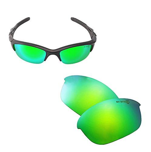 Walleva Replacement Lenses Or Lenses/Rubber for Oakley Half Jacket 2.0 Sunglasses - 43 Options Available (Emerald - Mr. Shield - Jacket 2.0 Earsocks Half