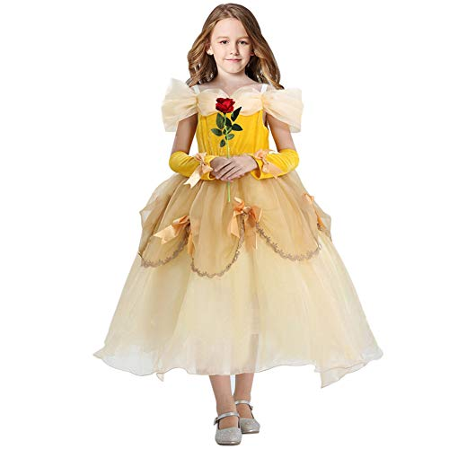 Princess Belle Costume for Little Girls Princess Dress up with Sleeves Rose Lace Dress(3T/4T)
