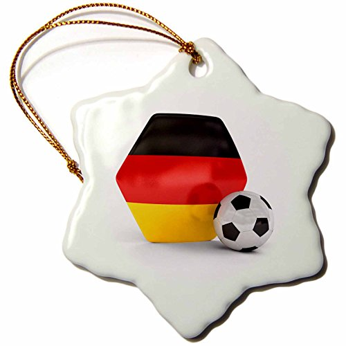 3dRose orn_181902_1 Germany Soccer Ball Snowflake Ornament, Porcelain, 3-Inch by 3dRose