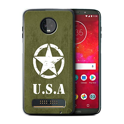(eSwish Phone Case/Cover for Motorola Moto Z3 Play 2018 / US Army Green WW2 Tank Style Design/USA America Pride Collection)