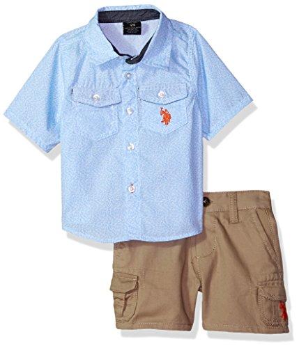 U.S. Polo Assn. Baby Boys Sleeve Woven Shirt and Short Set, Orange Logo Multi Plaid, 24M (Sleeve Woven Shirt)