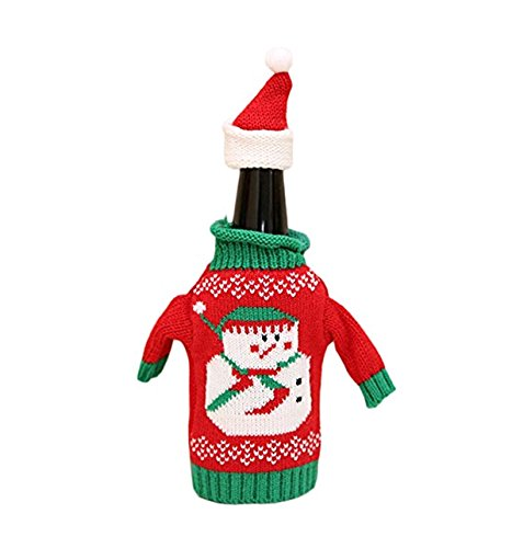 Christmas Xmas Party Knitted Ugly Sweater Hat Wine Bottle Cover Gift Decoration (1, Snowman) (Fancy Snowman)