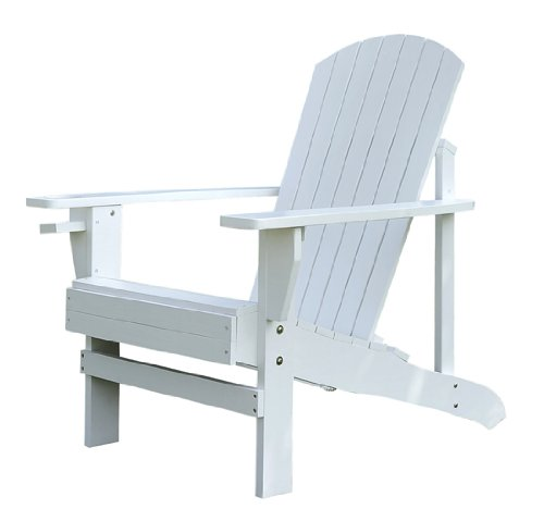 Outsunny Adirondack Outdoor Patio Lounge Chair, White