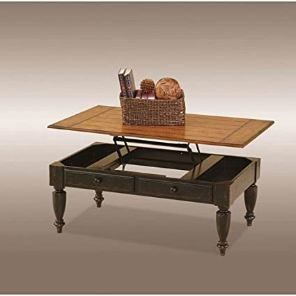 Progressive Furniture 44542 15 Country Vista Lift Top Cocktail Table,  Antique Black And Oak