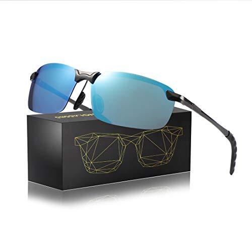 (Rectangular Sunglasses for Men Women-Polarized UV400 Rimless Fashion Unisex Driving Sun Glasses (gun frame&blue lens))